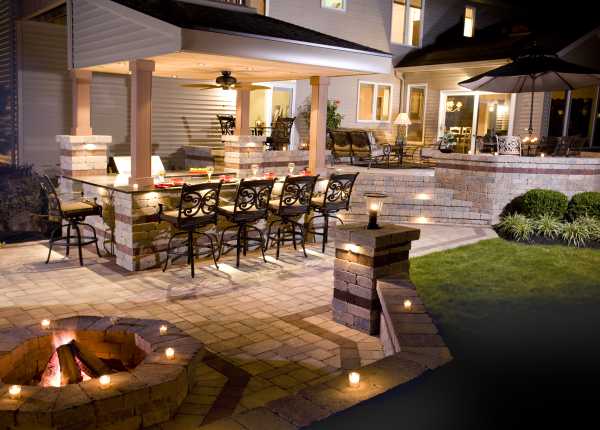 Outdoor Living Space and Fire Pit at Night