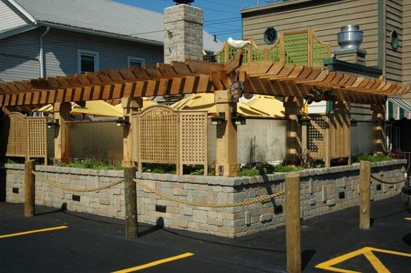 Custom Dining Area with Cedar Pergola.
