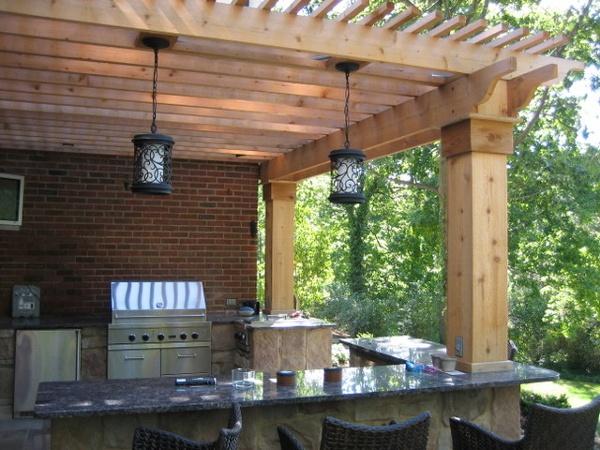 Cedar Pergola with lighting.