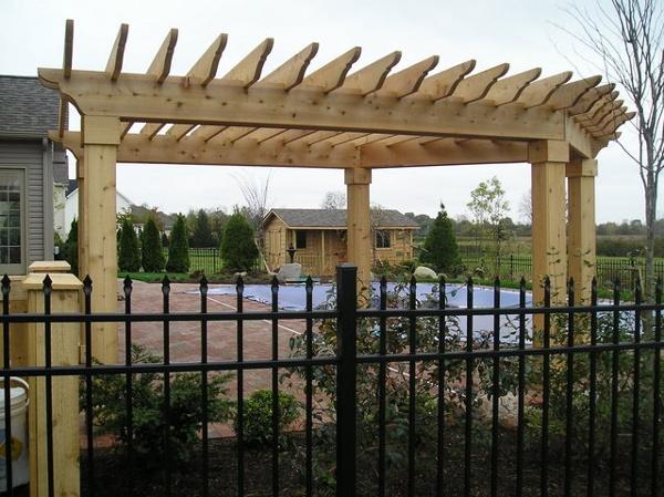 Custom cedar pergola and fence.