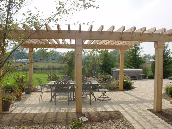 Cedar Pergola Shade Structure with hardscape patio.