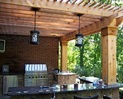 Cedar Pergola with Lighting and Electronics