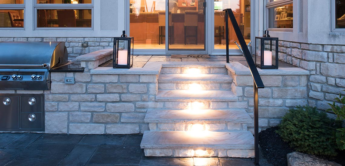 patio steps and lighting